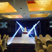 6 new led beams, led white dancefloor, projectors, plasma booth, truss stands.