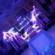 3 PROJECTOR SCREENS, MULTI COLOURED LED DANCEFLOOR, PLASMA BOOTH, TRUSS PILLARS, UPLIGHTING!!