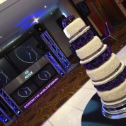 Wedding cake, led dancefloor, projectors, plasma booth, 4 moving heads