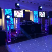 Plasma screens, led dance floor, truss stands, 4 led beams!