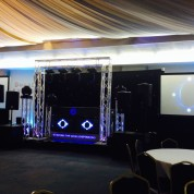 4 led beams, 4 moving heads, truss cage, starcloth, projectors