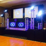 Park inn Heathrow, 4x led beams, projectors, plasma booth, full ev sound, starcloth!